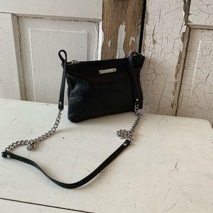 Stella & Dot black crossbody with silver chain